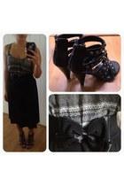 black tribal print kirra top - black studded sandals - black thrifted skirt