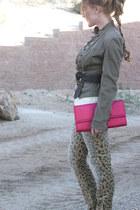 leopard print Target jeans - Promod blazer - H& bag - Wet Seal top