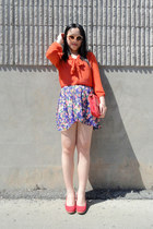 red Celin bag - deep purple Urban Outfitters skirt - red Urban Outfitters wedges