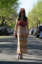 nude hm sunglasses - white Lollipops wedges - eggshell Urban Outfitters skirt