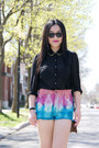 Bubble-gum-urban-outfitters-shorts-black-forever-21-blouse