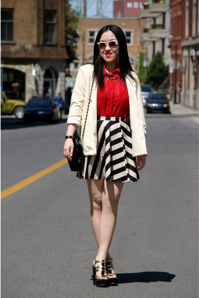 light yellow American Apparel blazer - red Urban Outfitters shirt