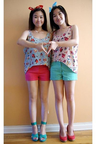 hot pink H&M shorts