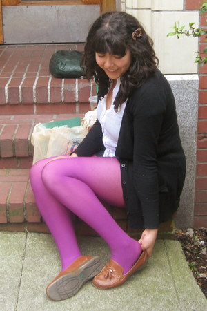magenta We Love Colors tights - navy Forever 21 tights - white thrifted blouse -