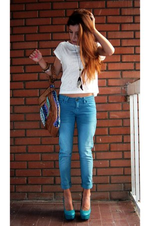 heels - Aldo bag - New Yorker t-shirt - pants