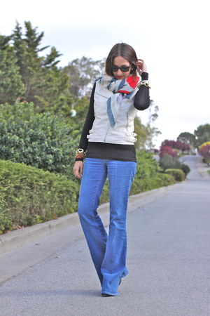 sky blue mih jeans - black Gap shirt - cream H&M vest