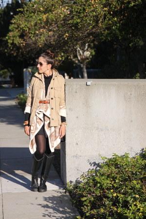 tan Gap jacket - tan Old Navy sweater - black asos skirt - black Jcrew top