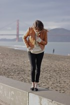 black Chinese Laundry flats - bronze Victorias Secret jacket - cream H&M sweater