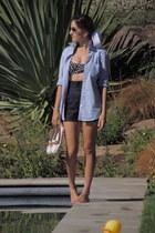 black Target shorts - sky blue JCrew shirt - navy Target swimwear