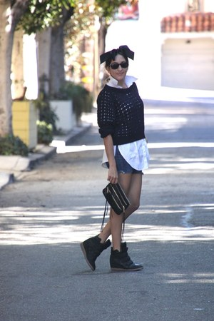 black Rebecca Minkoff purse - navy H&amp;M sweater - blue J Crew shorts