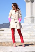 red Rich & Skinny jeans - beige Zara jacket - hot pink Gap sweater