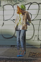 tan Gap jacket - light blue J Crew jeans - lime green asoscom hat