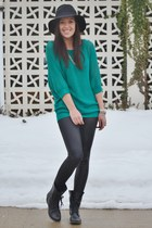 black Steve Madden boots - black Windsor Store leggings - teal Express top