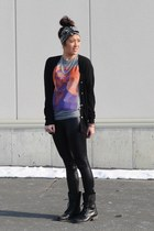 Urban Outfitters shirt - leather windsor leggings - Forever 21 cardigan