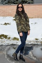 army green unknown shirt - black gold buckle Forever 21 boots