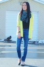 Yellow-neon-express-cardigan-light-blue-tribal-print-forever-21-scarf