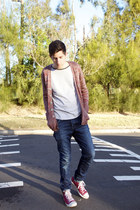red cotton on cardigan - blue iggy skinny neuw jeans
