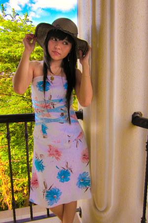 tube thrifted vintage dress - nylon thrifted vintage hat