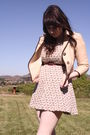 Beige-vintage-jacket-white-vintage-dress-brown-thrifted-belt