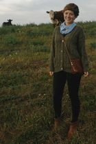 blue Home-made scarf - green Goodwill sweater - brown thrifted purse - black  le