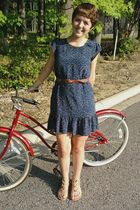 blue Forever 21 dress - brown thrifted belt - beige Urban Outfitters shoes