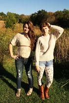 beige Goodwill sweater - blue shorts - beige Wet Seal leggings - brown Goodwill