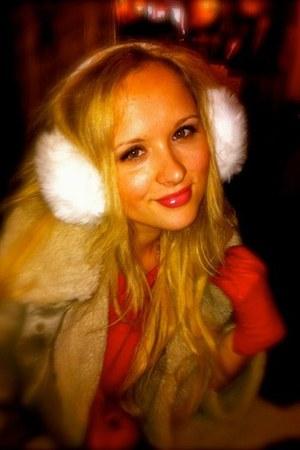 Zara dress - shearing cape Topshop jacket - ear muffs asos accessories - red lea