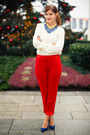 Stefanel-blouse-escada-pants-bally-pumps-stefanel-necklace