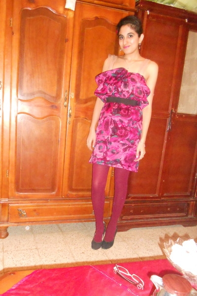 Lanvin for H&M dress - maroon unknown brand tights - navy suede vintage heels