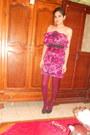 Lanvin-for-h-m-dress-maroon-unknown-brand-tights-navy-suede-vintage-heels