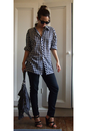 vintage shirt - Lux jeans - Dries Van Noten shoes - new look purse
