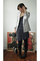 Helmut Lang jacket - vintage dress - Urban Outfitters jeans - All Saints shoes