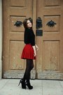 Black-soft-mango-sweater-brick-red-cute-bershka-skirt