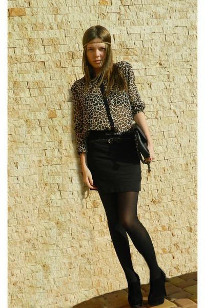 black black Stradivarius purse - tan animal print Stradivarius skirt