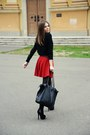 Black-soft-mango-sweater-ruby-red-cute-bershka-skirt