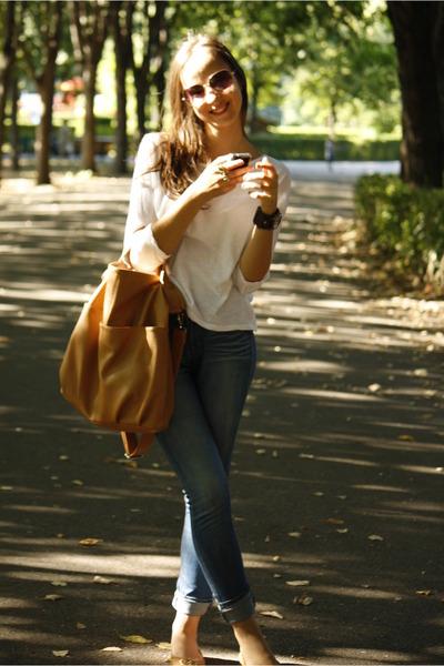bronze reserved bag - blue Lee Cooper jeans - white Mango t-shirt