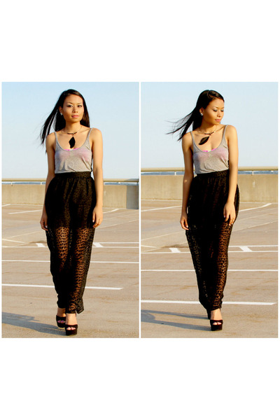 Black Maxi Skirt Forever21 Skirts, Gray Tank Top H&M Tops ...