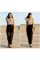 black maxi skirt Forever21 skirt - gray tank top H&M top