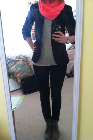 navy Gap jeans - navy Forever 21 blazer - hot pink Gap scarf