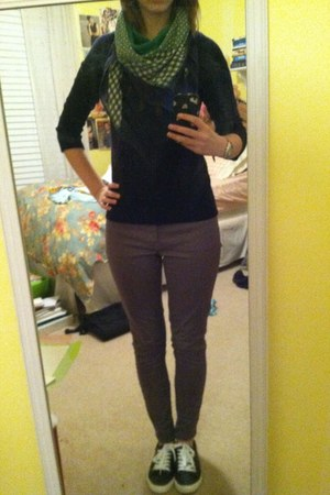 green madewell scarf - charcoal gray Gap jeans - navy Gap sweater