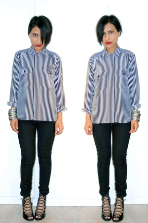 red smashbox accessories - white notions blouse - black H&amp;M jeans - black f21 sh