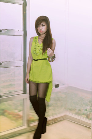 chartreuse dress - black shoes - black socks - dark gray stockings - accessories
