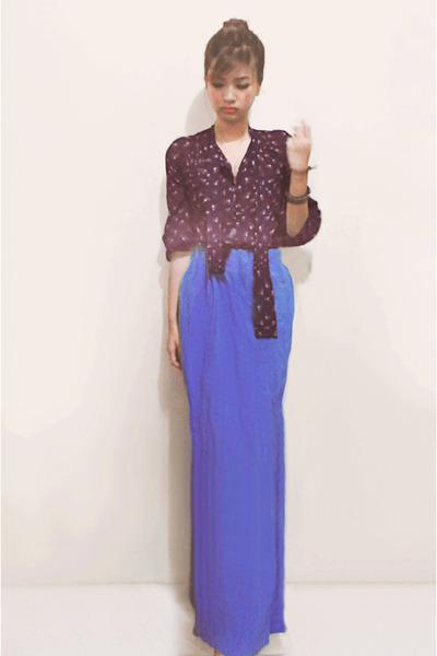 blue Forever 21 dress - amethyst blouse