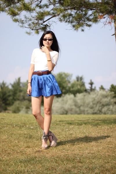 Forever 21 skirt - silence and noise shirt - ecote belt
