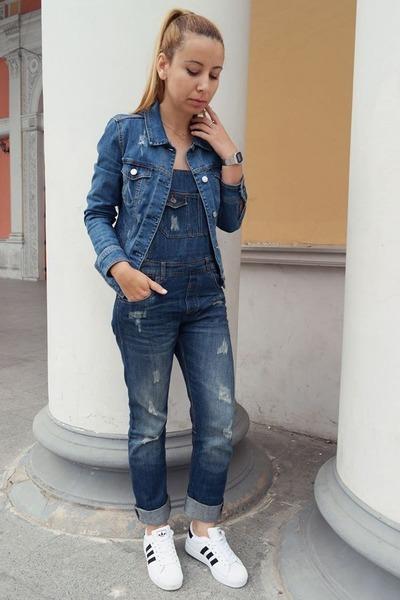 blue denim Mango jacket - blue denim Bershka bodysuit