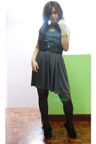 dress - forever 21 belt - Lacquer & Lace shoes - tights