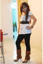top - Forever21 belt - tights - The Bouncing Bananas boots - diva necklace