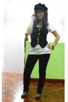 Topshop hat - top - Old Navy blouse - jeans - diva necklace - Vincci glasses
