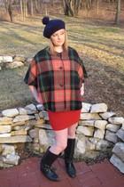 red MIskabelle jacket - red skirt - black vintage boots - blue MIskabelle hat