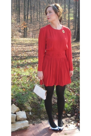 red MIskabelle dress - black tights - black MIskabelle shoes - gold MIskabelle a